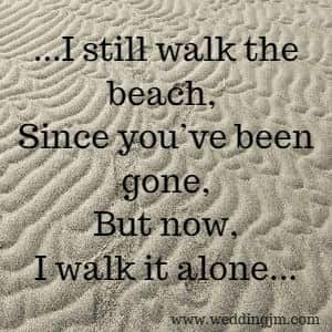 I still walk the beach, Since you've been gone, But not I walk it alone.