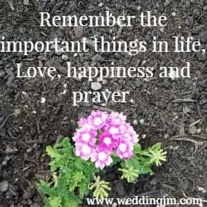 Remember the important things in life, 				Love, happiness, and prayer
